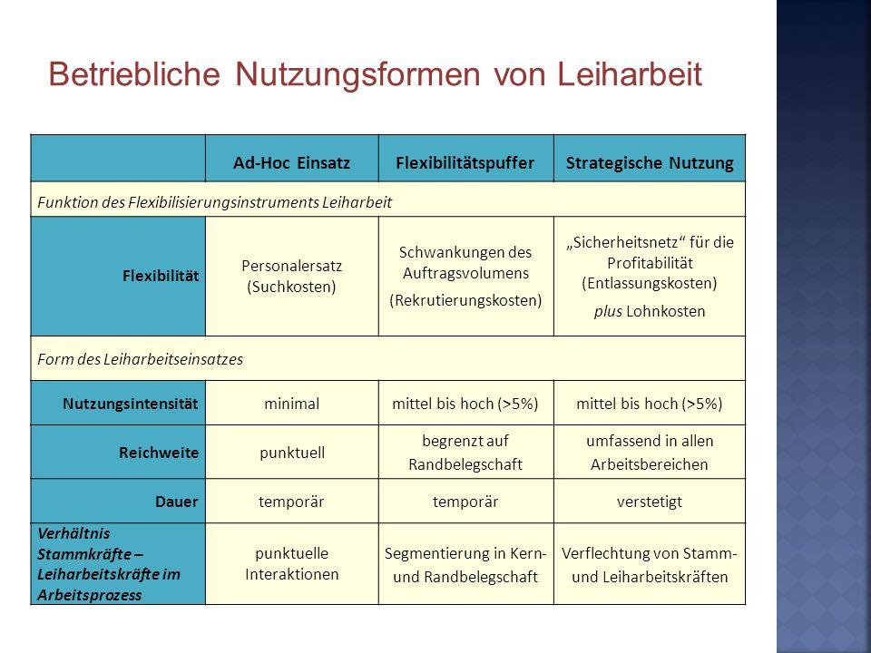Ad-Hoc EinsatzFlexibilitätspufferStrategische Nutzung Funktion des Flexibilisierungsinstruments Leiharbeit Flexibilität Personalersatz (Suchkosten) Sc