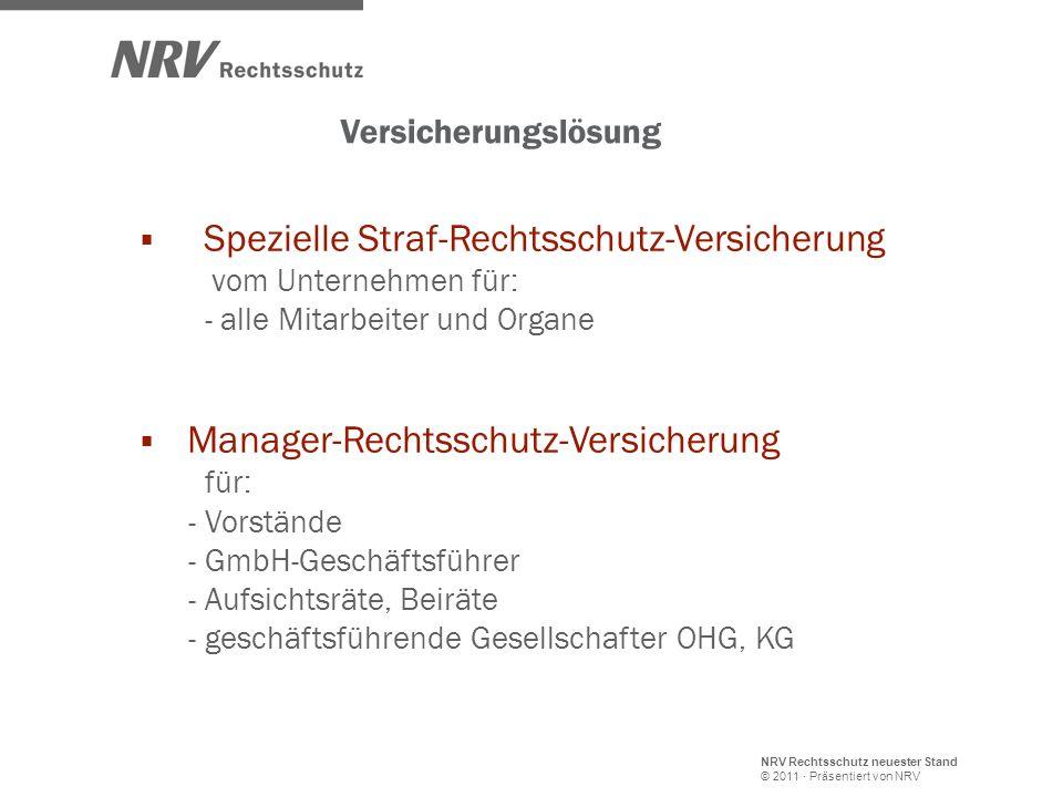 NRV Rechtsschutz neuester Stand © 2011 · Präsentiert von NRV Versicherungslösung Spezielle Straf-Rechtsschutz-Versicherung vom Unternehmen für: - alle