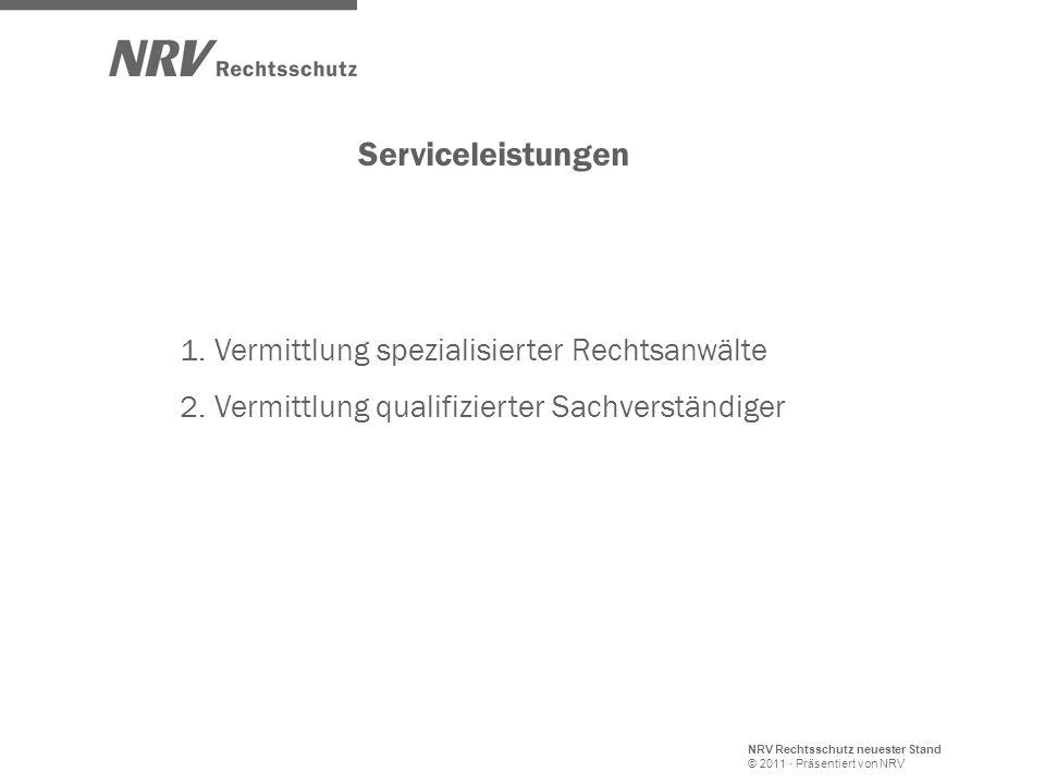 NRV Rechtsschutz neuester Stand © 2011 · Präsentiert von NRV Serviceleistungen 1. Vermittlung spezialisierter Rechtsanwälte 2. Vermittlung qualifizier