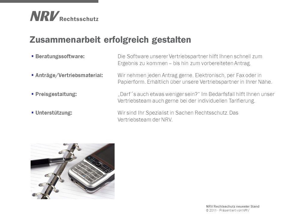 NRV Rechtsschutz neuester Stand © 2011 · Präsentiert von NRV Zusammenarbeit erfolgreich gestalten Beratungssoftware: Die Software unserer Vertriebspar
