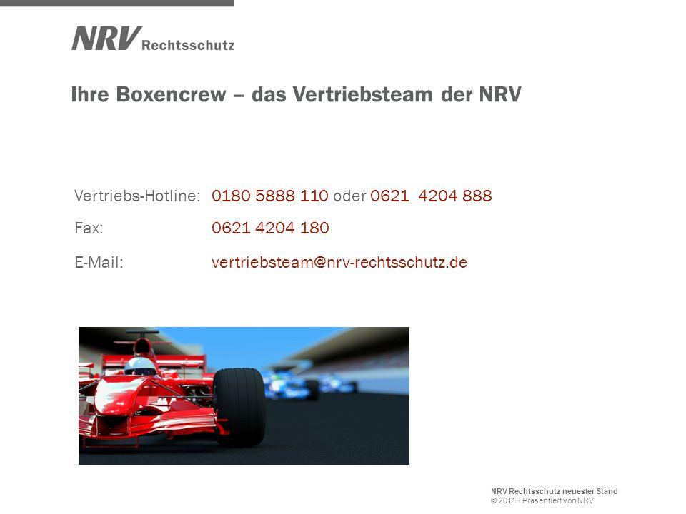 NRV Rechtsschutz neuester Stand © 2011 · Präsentiert von NRV Vertriebs-Hotline: 0180 5888 110 oder 0621 4204 888 E-Mail:vertriebsteam@nrv-rechtsschutz