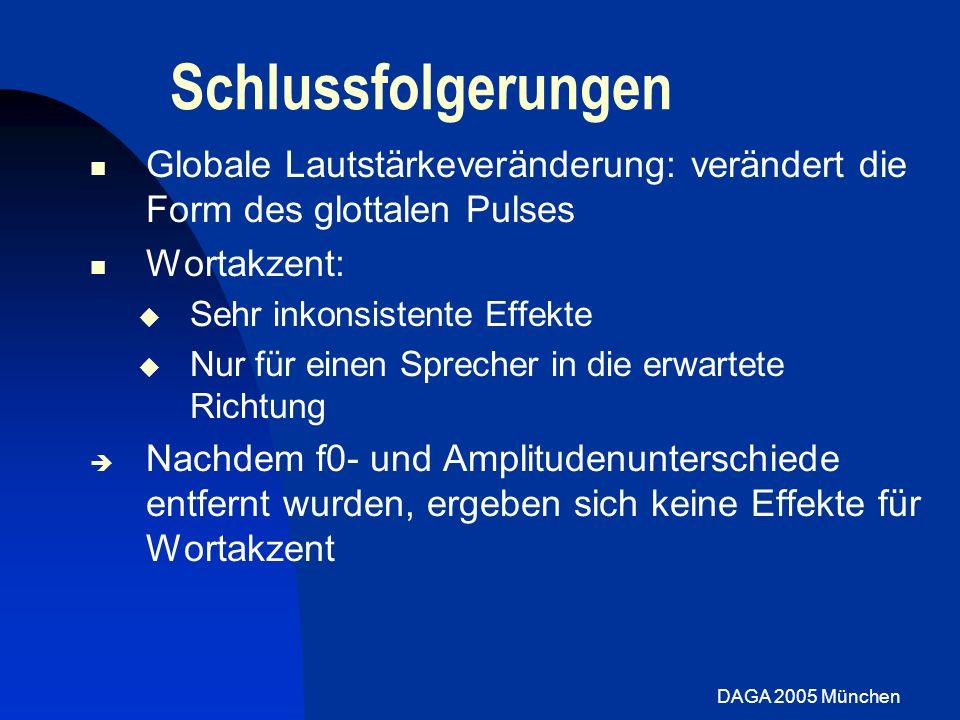 DAGA 2005 München Schlussfolgerungen Globale Lautstärkeveränderung: verändert die Form des glottalen Pulses Wortakzent: Sehr inkonsistente Effekte Nur