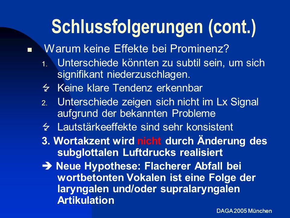 DAGA 2005 München Schlussfolgerungen (cont.) Warum keine Effekte bei Prominenz? 1. Unterschiede könnten zu subtil sein, um sich signifikant niederzusc