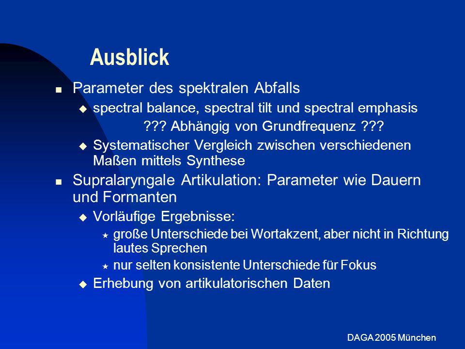 DAGA 2005 München Ausblick Parameter des spektralen Abfalls spectral balance, spectral tilt und spectral emphasis ??? Abhängig von Grundfrequenz ??? S