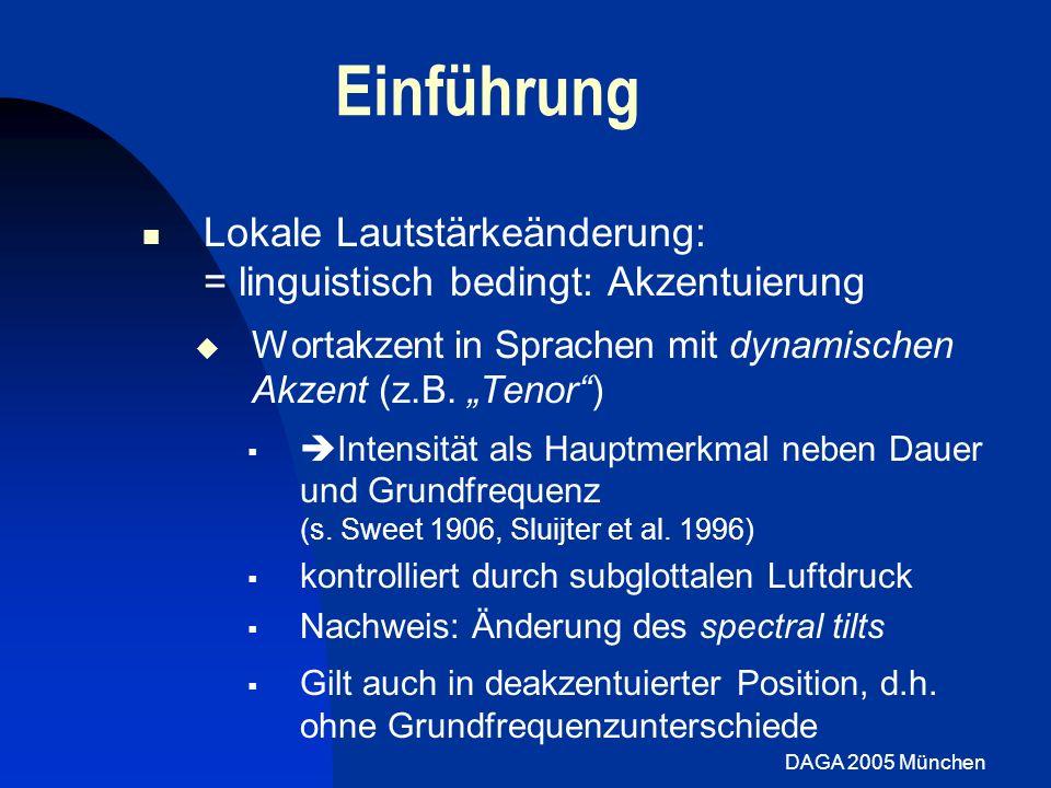 DAGA 2005 München Stimmparameter: globale Lautstärke OQ vergrößert sich von laut und normal nach leise Konsistent für alle Sprecher Open Quotient Signifikant steilere Steigungen für lautes Sprechen Konsistent für laut-normal Nur 3 Spr.