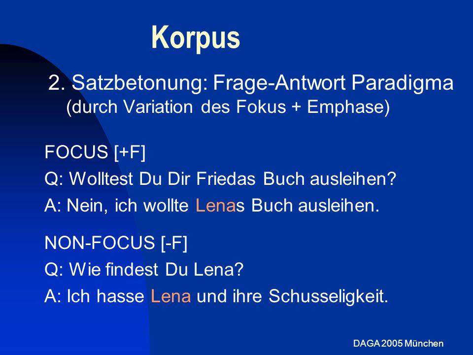 DAGA 2005 München Stimmparameter: Prominenz Wortakzent: [+F]: vier Sprecher zeigen steilere Steigungen für [+S] [-F]: 4 Sprecher /l/, nur 1 Sprecher /z/ Fokus: In beiden Bedingungen meist signifikanter Anstieg der Steigung für [+F] Fokus Non-Fokus Vorhersagen: Wortakzent: [+S]>[-S] Fokus: [+F]=[-F] Steigung der Öffnungsbewegung