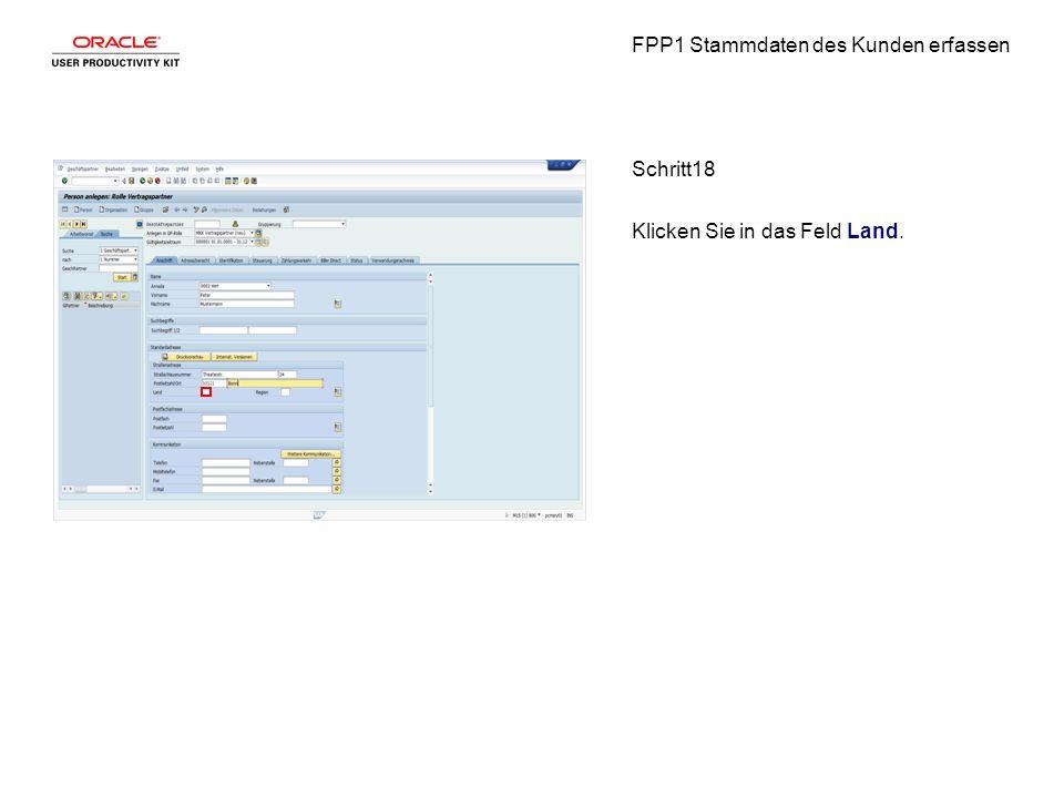 FPP1 Stammdaten des Kunden erfassen Schritt18 Klicken Sie in das Feld Land.