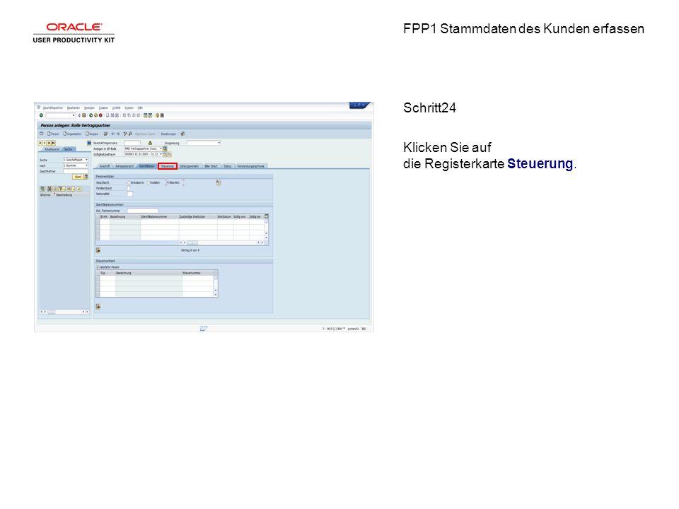 FPP1 Stammdaten des Kunden erfassen Schritt24 Klicken Sie auf die Registerkarte Steuerung.