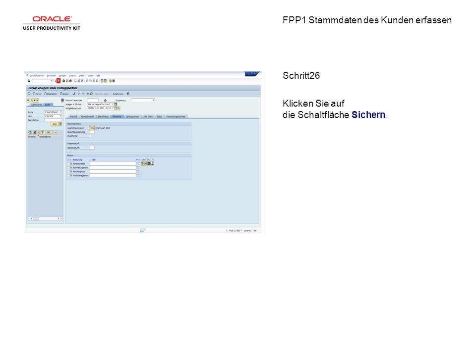 FPP1 Stammdaten des Kunden erfassen Schritt26 Klicken Sie auf die Schaltfläche Sichern.