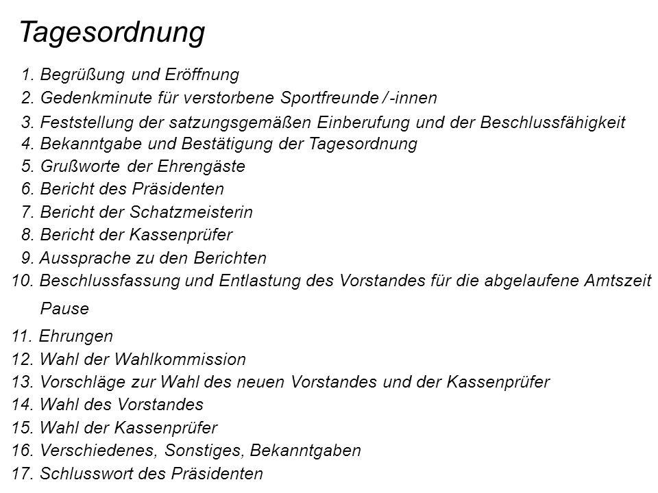 Tagesordnung 1. Begrüßung und Eröffnung 2. Gedenkminute für verstorbene Sportfreunde / -innen 3.