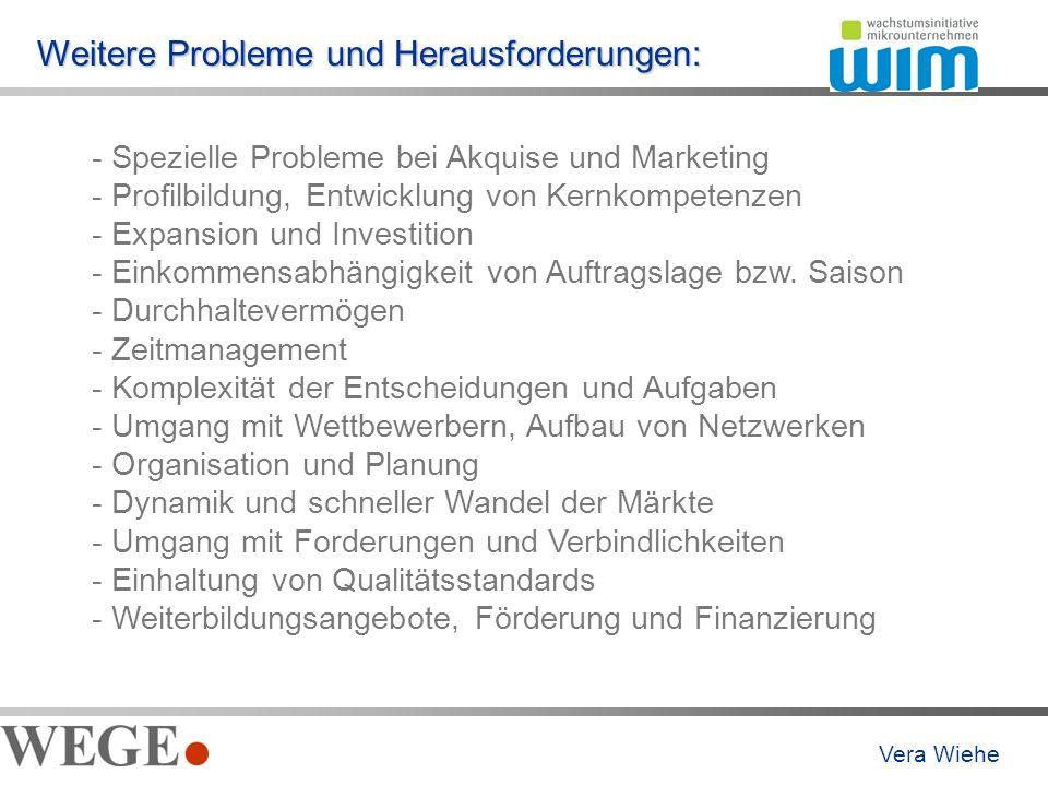 Weitere Probleme und Herausforderungen: - Spezielle Probleme bei Akquise und Marketing - Profilbildung, Entwicklung von Kernkompetenzen - Expansion und Investition - Einkommensabhängigkeit von Auftragslage bzw.