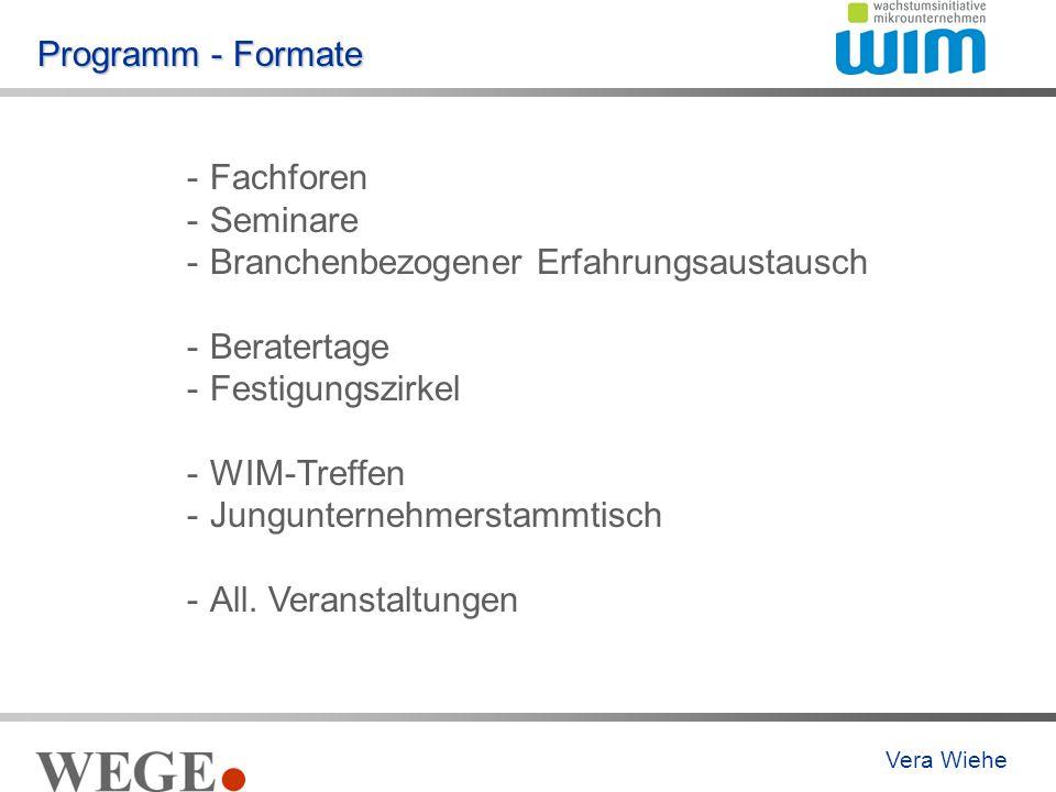 Programm - Formate -Fachforen -Seminare -Branchenbezogener Erfahrungsaustausch -Beratertage -Festigungszirkel -WIM-Treffen -Jungunternehmerstammtisch -All.