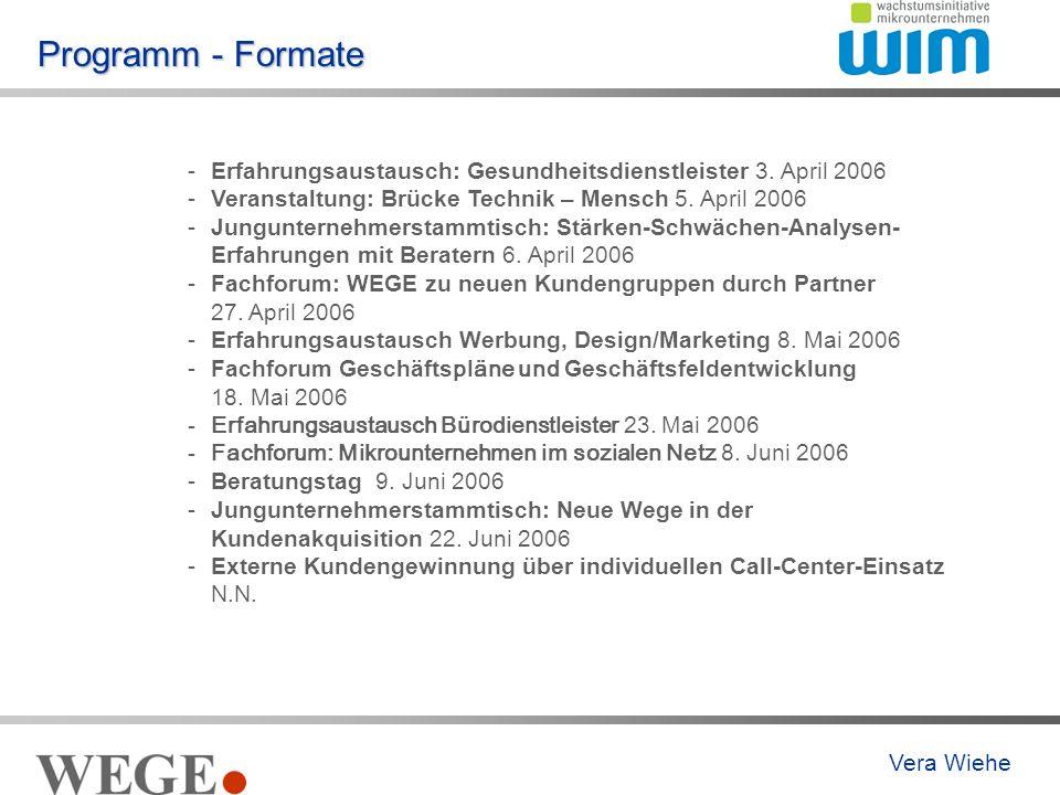 Programm - Formate -Erfahrungsaustausch: Gesundheitsdienstleister 3.