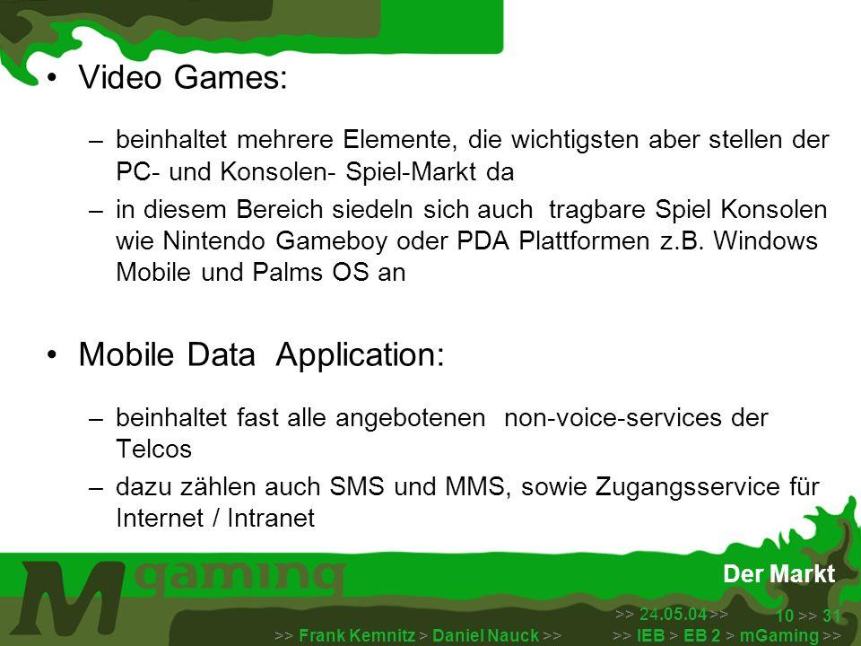 >> 24.05.04 >> >> Frank Kemnitz > Daniel Nauck >> >> IEB > EB 2 > mGaming >> 10 >> 31 Der Markt Video Games: –beinhaltet mehrere Elemente, die wichtig