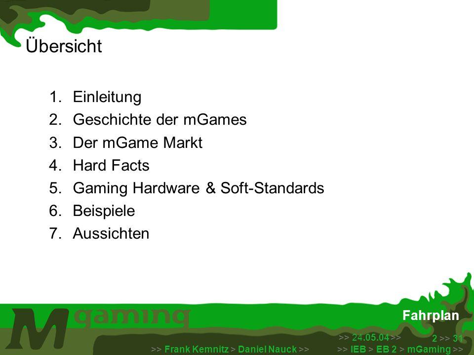 >> 24.05.04 >> >> Frank Kemnitz > Daniel Nauck >> >> IEB > EB 2 > mGaming >> 13 >> 31 Der Markt Der mGame Markt ist in 3 Bereiche gegliedert: Handset Games: - vorinstallierte Spiele (Snake) oder Speichermodule die separat erworben werden müssen (N-Gage) Network Games: - basieren auf spezifischen Netzwerk Standards und Protokollen um ausgeführt werden zu können (WAP) - Bezahlung entweder Monatspauschale / oder per konsumierter Datenmenge Download Games: - vertrieben über mobile Network, installiert und gespielt auf mobilen Endgerät - Standard: Java2 Micro Edition – J2ME - Bezahlung entweder per Min oder per Game