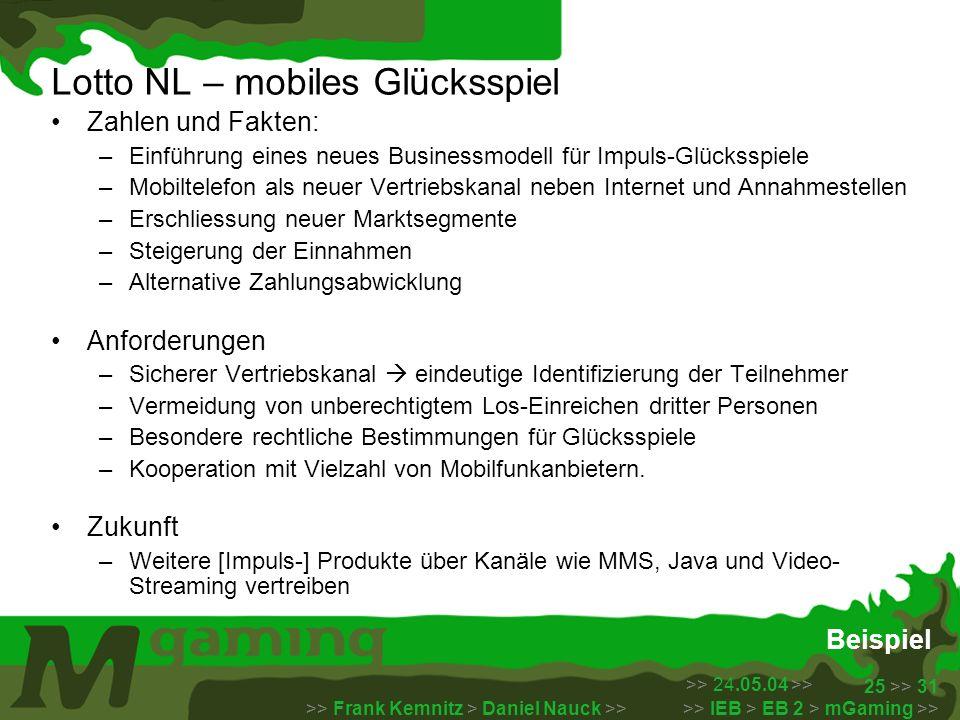 >> 24.05.04 >> >> Frank Kemnitz > Daniel Nauck >> >> IEB > EB 2 > mGaming >> 25 >> 31 Beispiel Lotto NL – mobiles Glücksspiel Zahlen und Fakten: –Einf