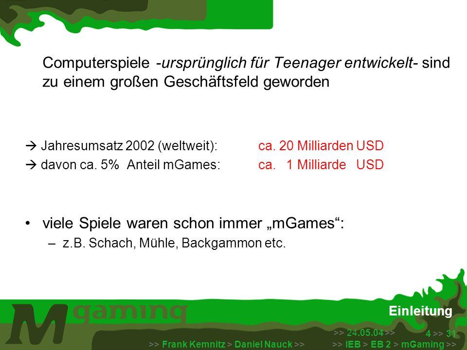 >> 24.05.04 >> >> Frank Kemnitz > Daniel Nauck >> >> IEB > EB 2 > mGaming >> 5 >> 31 Kurze Geschichte der mGames Vater aller mGames: Nintendo´s tragbare LCD Spiele Serie Games & Watch – 1980 Konzept: immer verfügbares Gerät, bestückt mit einem kleinen digitalen und unterhaltsamen Spiel zur Unterhaltung bis Ende der 80er entstanden so für diese Produktreihe fast 70 verschiedene Spiele, unter anderem der zum Weltruhm gelangte Mario Nintendo etablierte auch das Licensing: bekannte Comic Figuren großer Häuser, wie Disney, erschienen ebenfalls in Computerspielen Die Geschichte