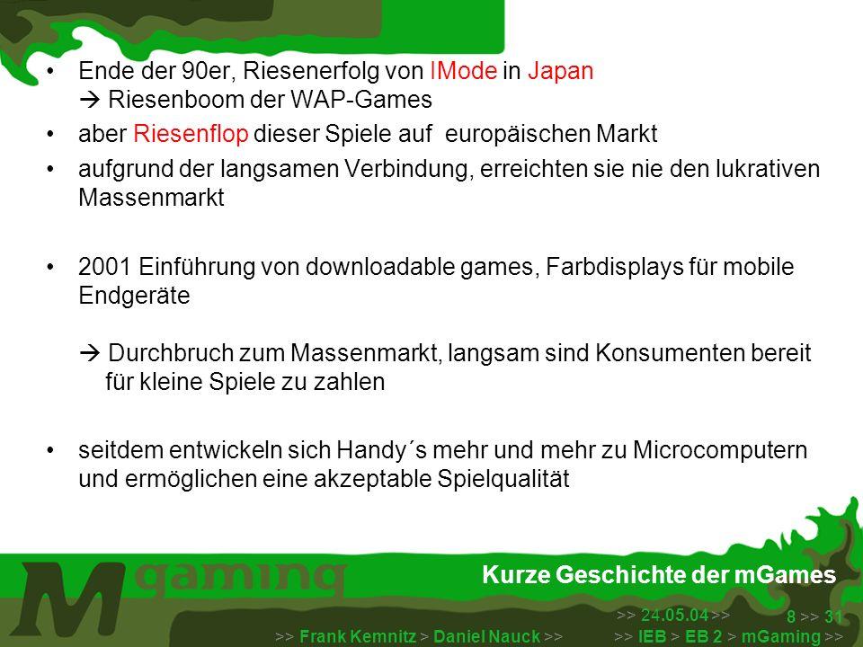 >> 24.05.04 >> >> Frank Kemnitz > Daniel Nauck >> >> IEB > EB 2 > mGaming >> 9 >> 31 Der Markt Der mGame Markt mGames siedelen sich zwischen zwei bereits existierenden Geschäftsfeldern an: Quelle: DETECON Opinion Paper – mobile gaming, 3/2004
