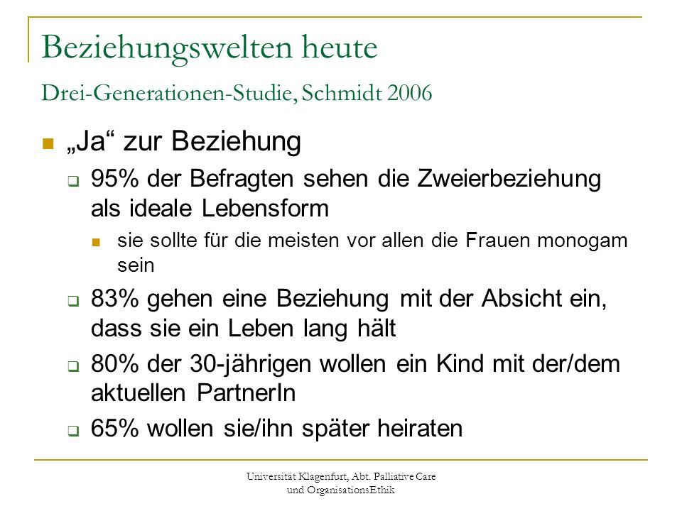 Universität Klagenfurt, Abt. Palliative Care und OrganisationsEthik Beziehungswelten heute Drei-Generationen-Studie, Schmidt 2006 Ja zur Beziehung 95%
