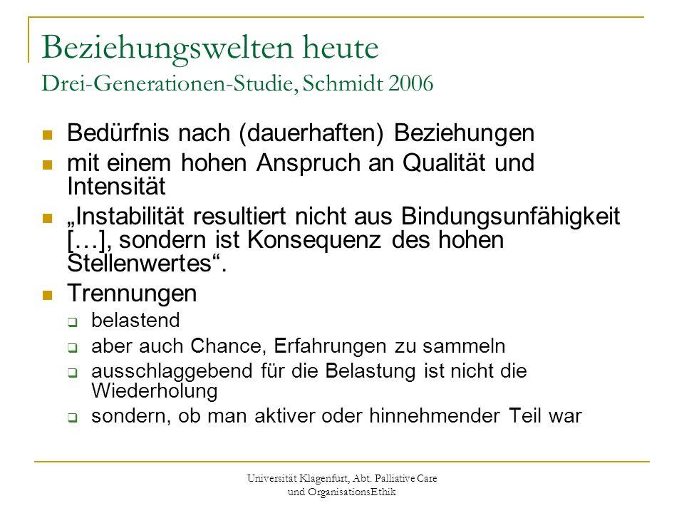 Universität Klagenfurt, Abt. Palliative Care und OrganisationsEthik Beziehungswelten heute Drei-Generationen-Studie, Schmidt 2006 Bedürfnis nach (daue