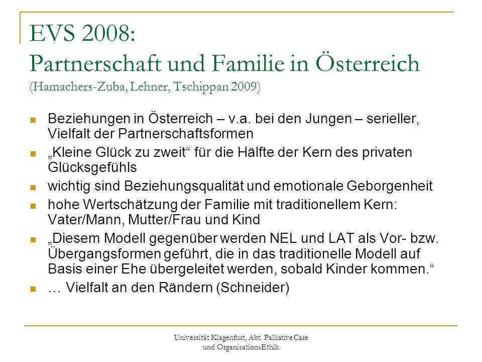 Universität Klagenfurt, Abt. Palliative Care und OrganisationsEthik EVS 2008: Partnerschaft und Familie in Österreich (Hamachers-Zuba, Lehner, Tschipp