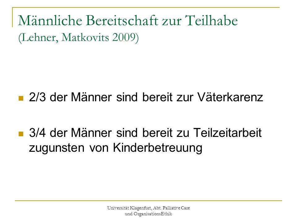 Universität Klagenfurt, Abt. Palliative Care und OrganisationsEthik Männliche Bereitschaft zur Teilhabe (Lehner, Matkovits 2009) 2/3 der Männer sind b