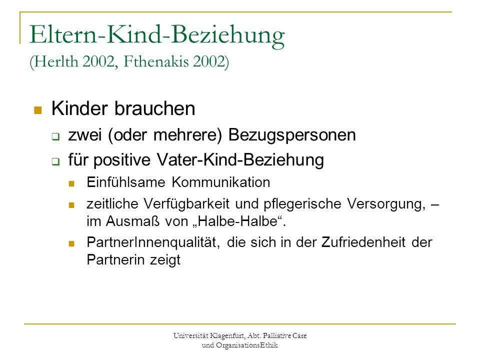 Universität Klagenfurt, Abt. Palliative Care und OrganisationsEthik Eltern-Kind-Beziehung (Herlth 2002, Fthenakis 2002) Kinder brauchen zwei (oder meh