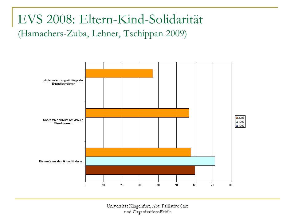 Universität Klagenfurt, Abt. Palliative Care und OrganisationsEthik EVS 2008: Eltern-Kind-Solidarität (Hamachers-Zuba, Lehner, Tschippan 2009)