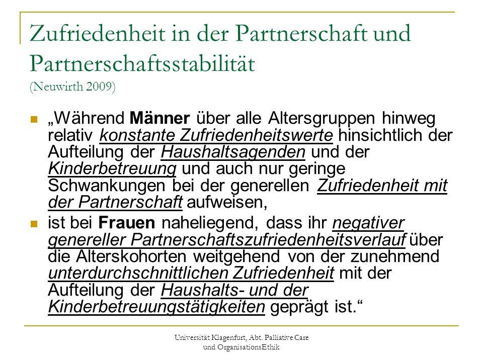 Universität Klagenfurt, Abt. Palliative Care und OrganisationsEthik Zufriedenheit in der Partnerschaft und Partnerschaftsstabilität (Neuwirth 2009) Wä