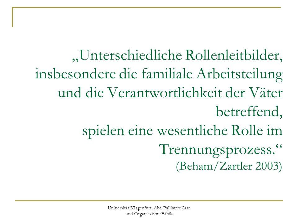 Universität Klagenfurt, Abt. Palliative Care und OrganisationsEthik Unterschiedliche Rollenleitbilder, insbesondere die familiale Arbeitsteilung und d