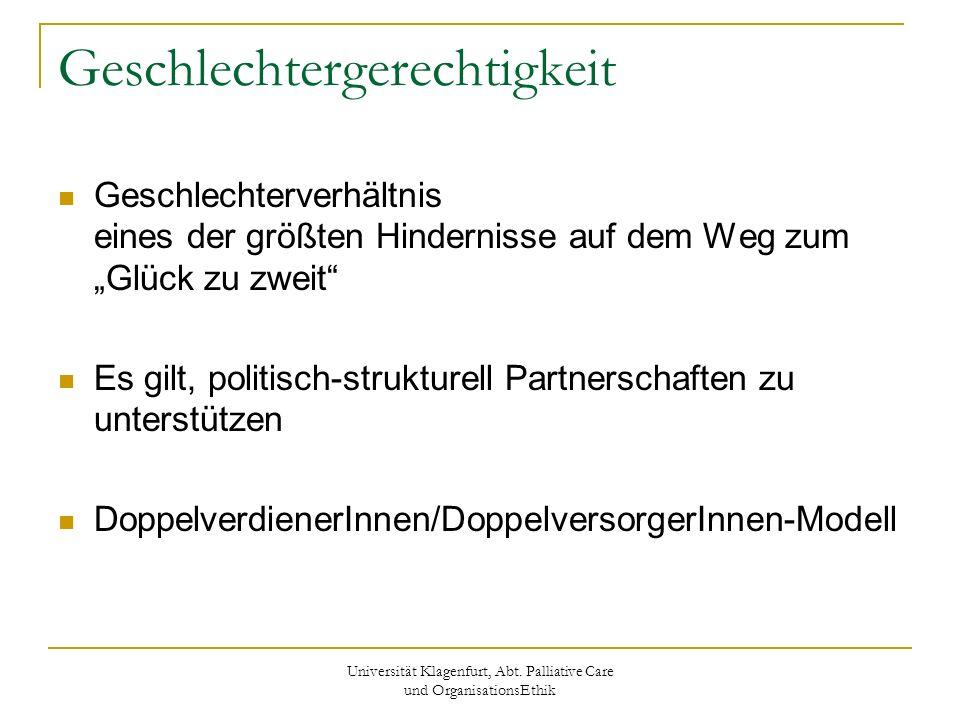 Universität Klagenfurt, Abt. Palliative Care und OrganisationsEthik Geschlechtergerechtigkeit Geschlechterverhältnis eines der größten Hindernisse auf