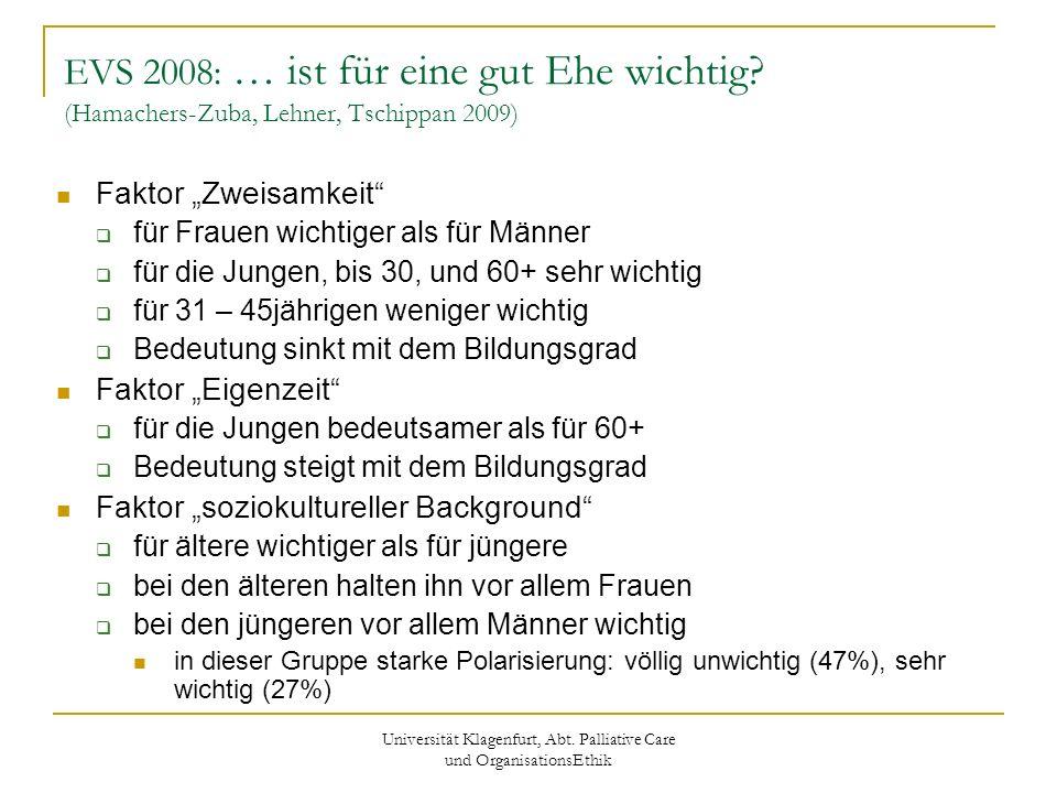 Universität Klagenfurt, Abt. Palliative Care und OrganisationsEthik EVS 2008: … ist für eine gut Ehe wichtig? (Hamachers-Zuba, Lehner, Tschippan 2009)
