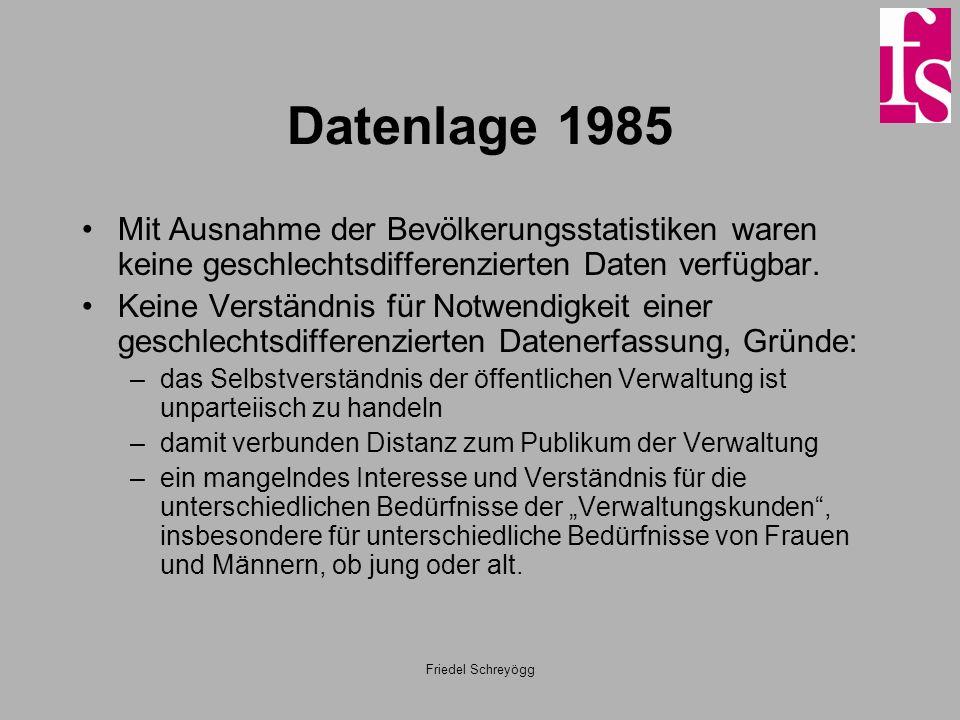 Friedel Schreyögg Datenlage 1985 Mit Ausnahme der Bevölkerungsstatistiken waren keine geschlechtsdifferenzierten Daten verfügbar. Keine Verständnis fü