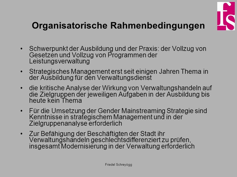 Friedel Schreyögg Organisatorische Rahmenbedingungen Schwerpunkt der Ausbildung und der Praxis: der Vollzug von Gesetzen und Vollzug von Programmen de