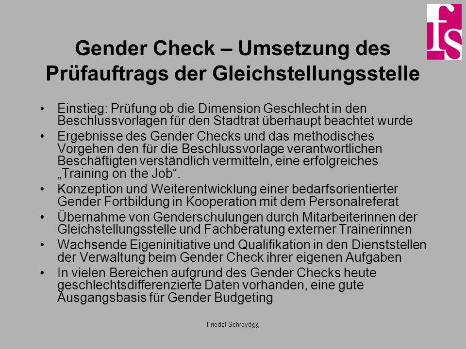 Friedel Schreyögg Gender Check – Umsetzung des Prüfauftrags der Gleichstellungsstelle Einstieg: Prüfung ob die Dimension Geschlecht in den Beschlussvo