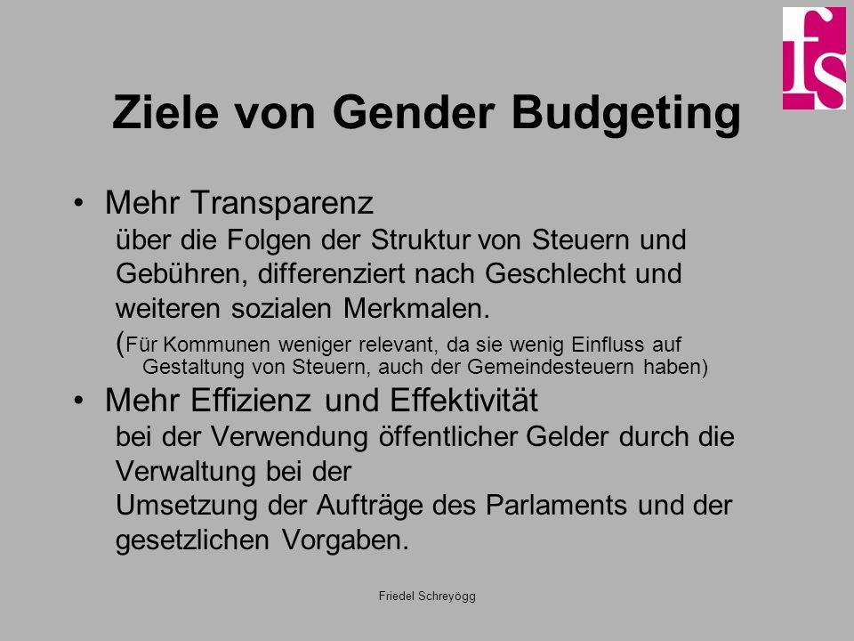 Friedel Schreyögg Ziele von Gender Budgeting Mehr Transparenz über die Folgen der Struktur von Steuern und Gebühren, differenziert nach Geschlecht und