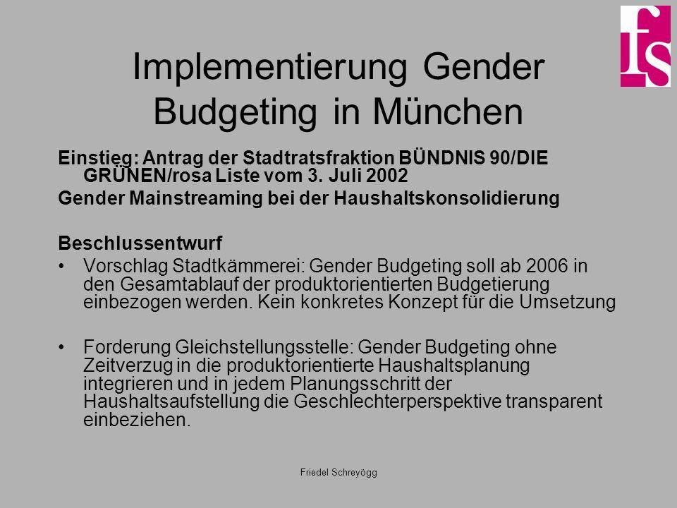 Friedel Schreyögg Implementierung Gender Budgeting in München Einstieg: Antrag der Stadtratsfraktion BÜNDNIS 90/DIE GRÜNEN/rosa Liste vom 3. Juli 2002