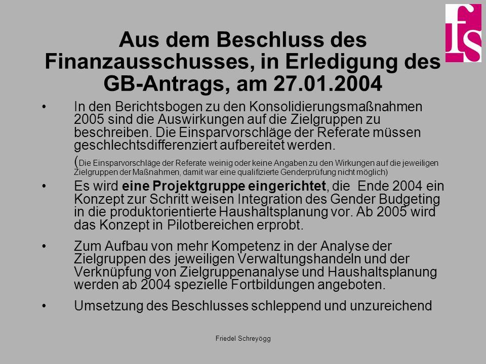 Friedel Schreyögg Aus dem Beschluss des Finanzausschusses, in Erledigung des GB-Antrags, am 27.01.2004 In den Berichtsbogen zu den Konsolidierungsmaßn