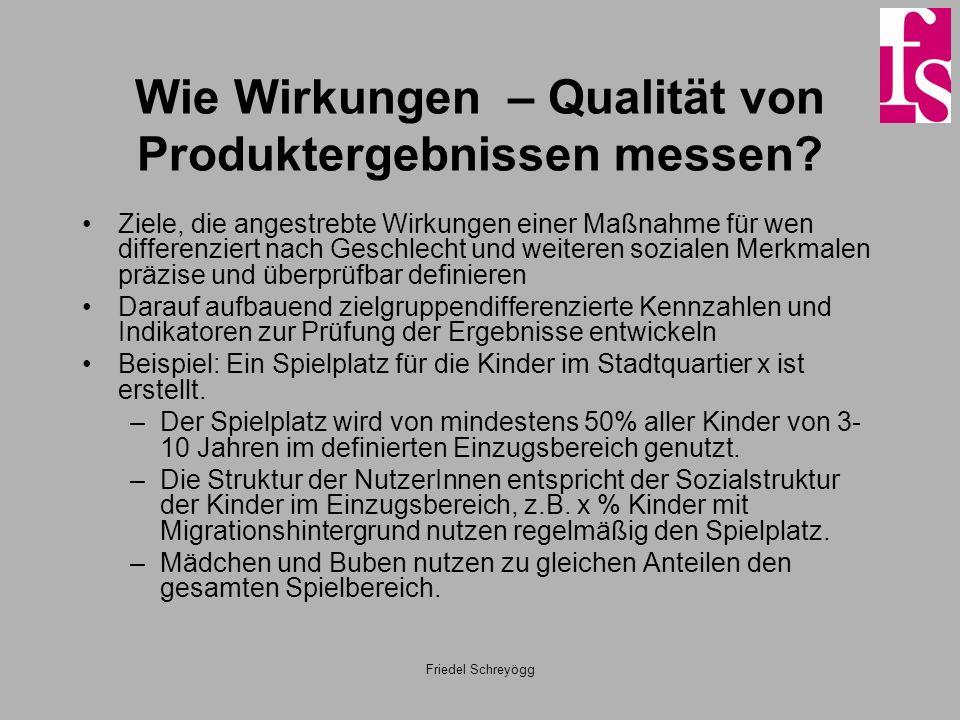 Friedel Schreyögg Wie Wirkungen – Qualität von Produktergebnissen messen? Ziele, die angestrebte Wirkungen einer Maßnahme für wen differenziert nach G