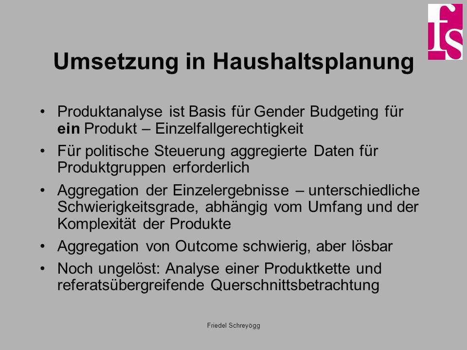 Friedel Schreyögg Umsetzung in Haushaltsplanung Produktanalyse ist Basis für Gender Budgeting für ein Produkt – Einzelfallgerechtigkeit Für politische
