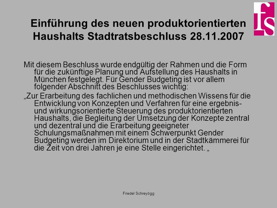 Friedel Schreyögg Einführung des neuen produktorientierten Haushalts Stadtratsbeschluss 28.11.2007 Mit diesem Beschluss wurde endgültig der Rahmen und