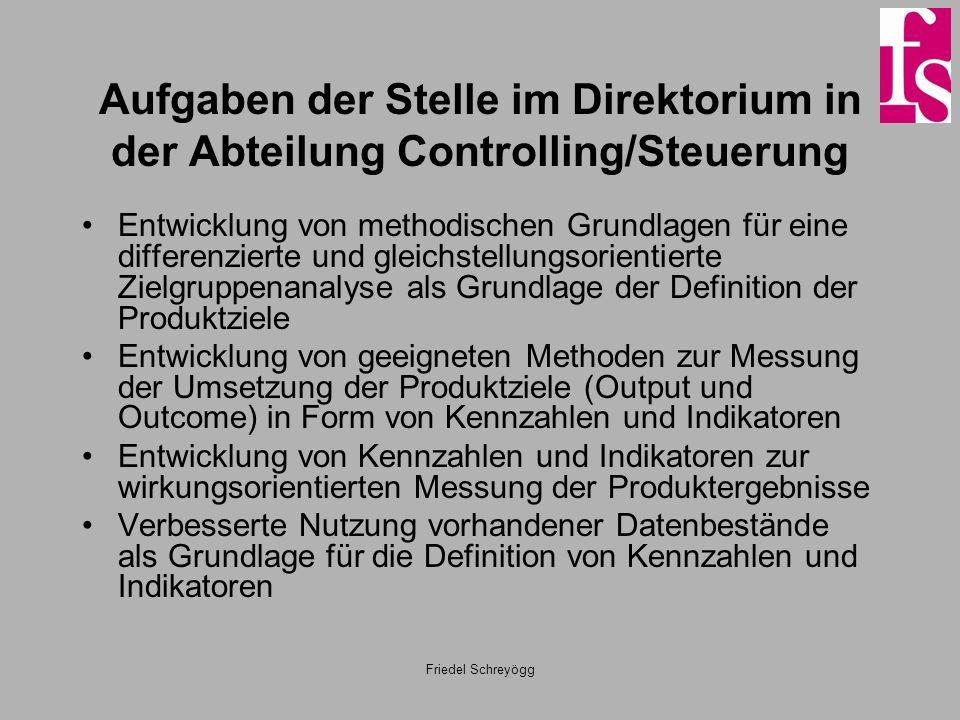 Friedel Schreyögg Aufgaben der Stelle im Direktorium in der Abteilung Controlling/Steuerung Entwicklung von methodischen Grundlagen für eine differenz