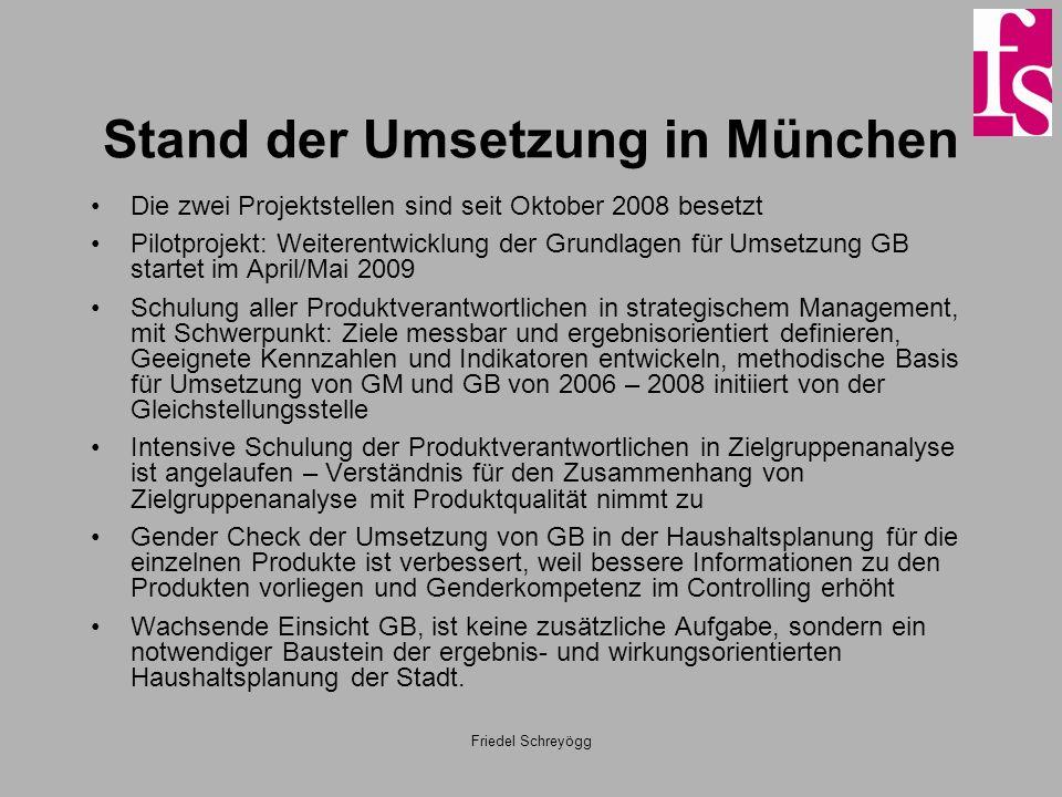 Friedel Schreyögg Stand der Umsetzung in München Die zwei Projektstellen sind seit Oktober 2008 besetzt Pilotprojekt: Weiterentwicklung der Grundlagen