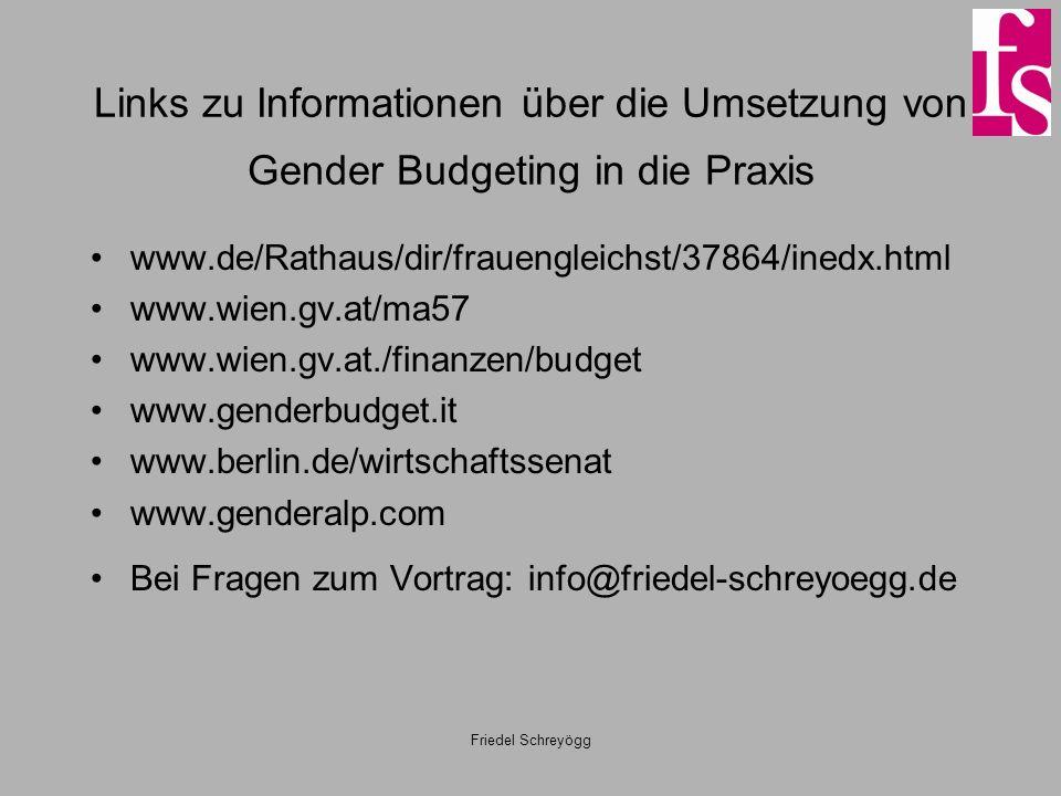 Friedel Schreyögg Links zu Informationen über die Umsetzung von Gender Budgeting in die Praxis www.de/Rathaus/dir/frauengleichst/37864/inedx.html www.