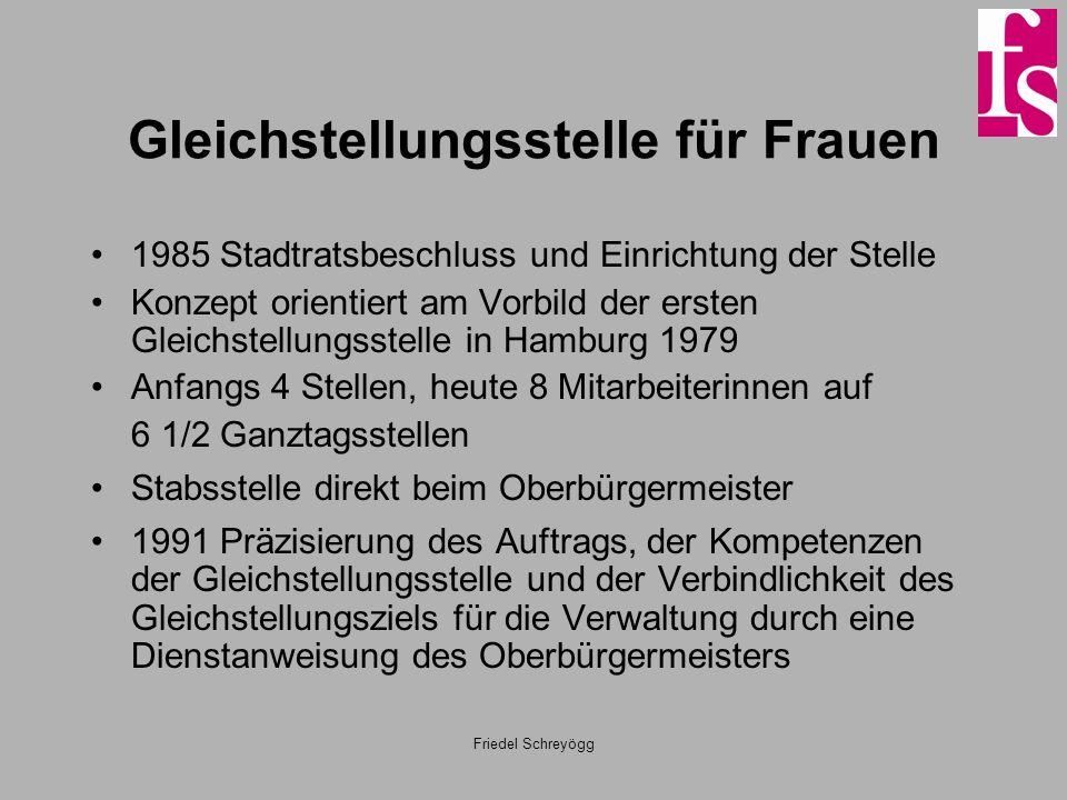 Friedel Schreyögg Gleichstellungsstelle für Frauen 1985 Stadtratsbeschluss und Einrichtung der Stelle Konzept orientiert am Vorbild der ersten Gleichs