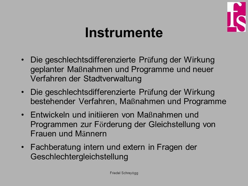 Friedel Schreyögg Instrumente Die geschlechtsdifferenzierte Pr ü fung der Wirkung geplanter Ma ß nahmen und Programme und neuer Verfahren der Stadtver