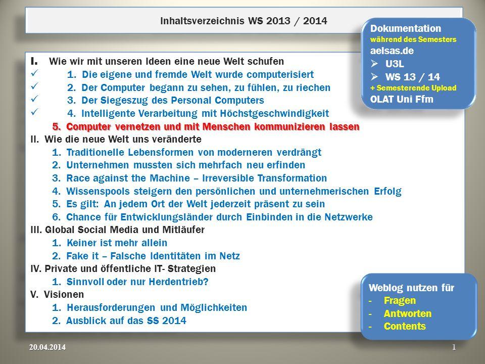 Inhaltsverzeichnis WS 2013 / 2014 I. Wie wir mit unseren Ideen eine neue Welt schufen 1. Die eigene und fremde Welt wurde computerisiert 2. Der Comput