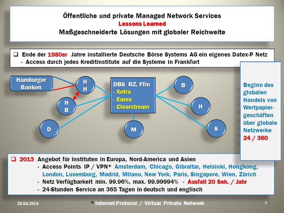 Lessons Learned Öffentliche und private Managed Network Services Lessons Learned Maßgeschneiderte Lösungen mit globaler Reichweite 20.04.2014 * Intern