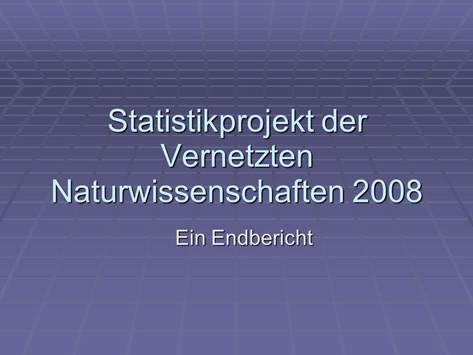 Statistikprojekt der Vernetzten Naturwissenschaften 2008 Ein Endbericht
