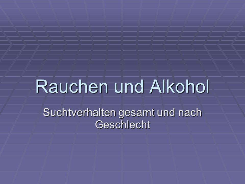 Rauchen und Alkohol Suchtverhalten gesamt und nach Geschlecht